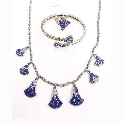 Rare Egyptian Stamped Sterling Silver,NATURAL Lapis Lazuli LOTUS FLOWER SET!!WOW