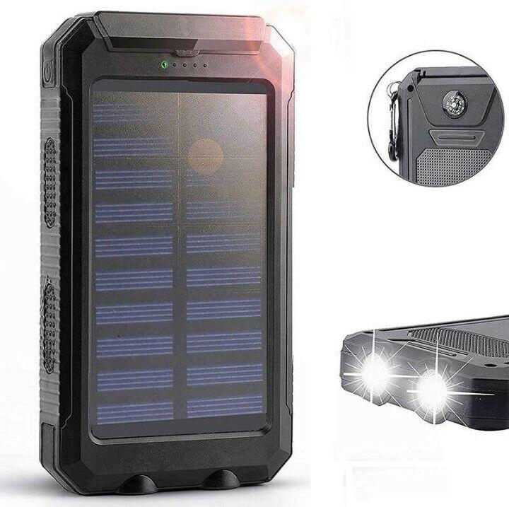 500000mAh Portable External Solar Power Bank 2USB Battery