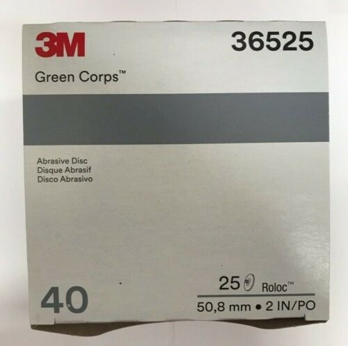 """3M Green Corps Roloc Grinding Discs 2"""" 40 Grit 3M 36525 replacement for 3M 01398"""