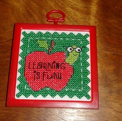 New Red Apple Green Worm framed picture ornament Finished Cross Stitch handmade