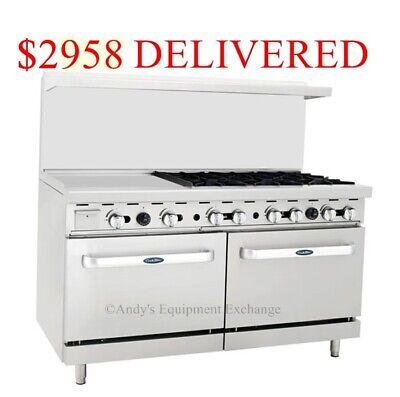 60 6 Burner Range Top W 2 Ovens And 24 Inch Left Side Griddle 5 Foot Wide Nsf