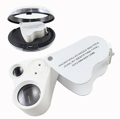 30X 60X Loop Magnifier Jeweler Eye Loupe Lens LED 2in1