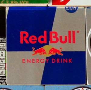 Metal drinks coaster handmade from upcycled soft drink cans- 4 for £14 Red Bull
