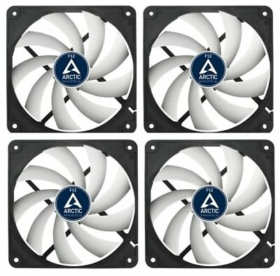 4 x Pack of Arctic Cooling F12 120mm 12cm PC Case Fan, 1350 RPM, 53CFM, 3 Pin