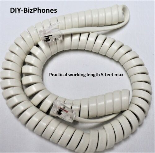 Generic Barely Off White/Light Ivory/Cream 9ft Handset Cord Landline Phone Curly