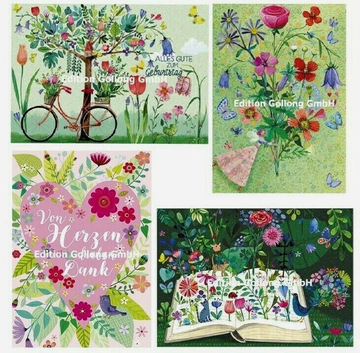 *MILA MARQUIS*Postkarte*Blumenherz*Von Herzen lieben Dank*Blumenbuch10x15cm