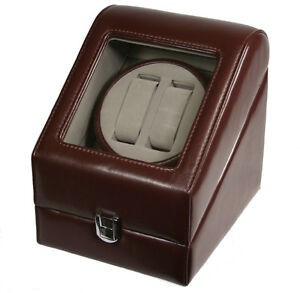 TOP-QUALITY-LEATHER-AUTOMATIC-DOUBLE-WATCH-WINDER-BOX-PI-BRN