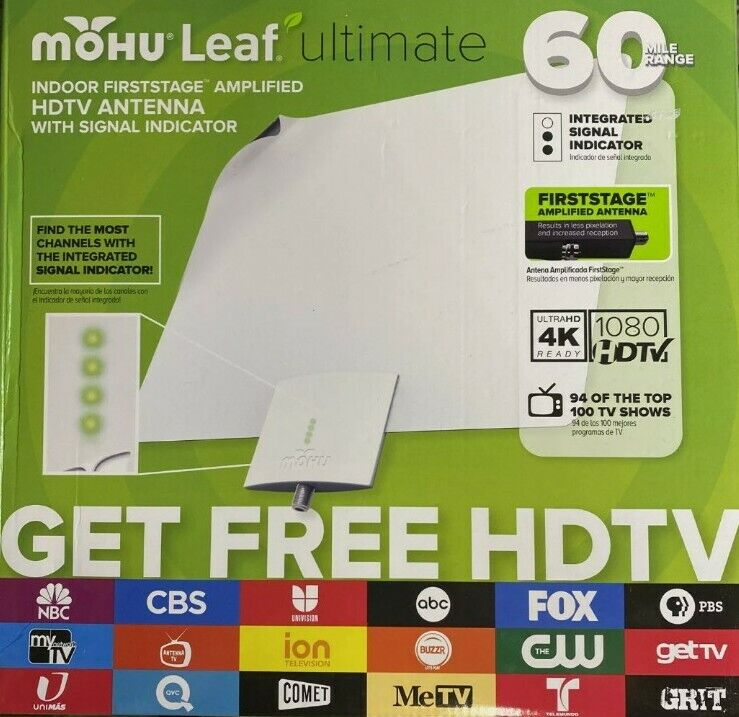 NEW - Mohu Leaf Ultimate Antenna - HDTV Indoor - Amplified Signal 60 Miles