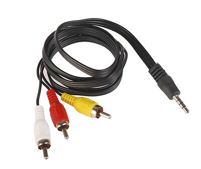3.5MM Jack to 3 RCA Male Plug Adapter Audio Converter Video AV Cable Wire Cord F