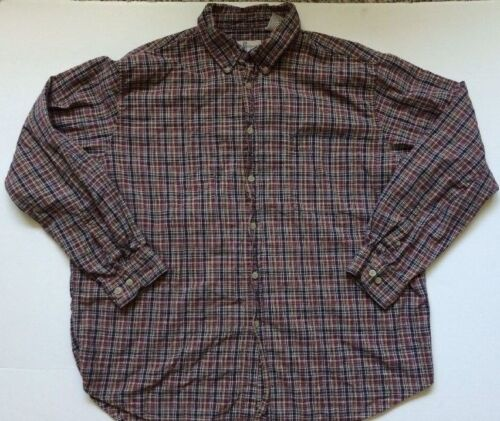 River Trader Washed Oxford Long Sleeve Shirt Mens Button Down Plaid Cotton XL