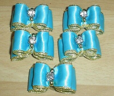 Pretty Turquiose Blue And Gold Show Type Dog Grooming Bows Diamante Centre