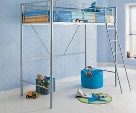 High sleeper single bed. metal frame. silver colour