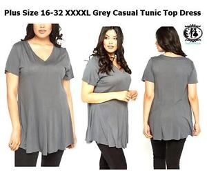 LADIES-PLUS-LARGE-SIZE-16-32-GREY-CASUAL-TUNIC-TOP-BLOUSE-MINI-DRESS-WORK-OFFICE