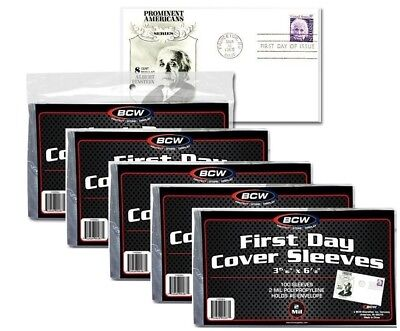 Lot Of 600 Sleeves BCW First Day Cover Holds #6 Envelope 3 15/16 X 6 7/8 (#CS08)