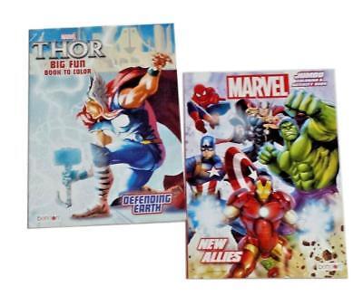 Thor & The Avengers Marvel Comics Kids Coloring Book & Activity Books 2 Pk NEW