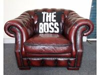Beautiful Chesterfield Low Back Club Chair in Oxblood Red Leather - UK Delivery