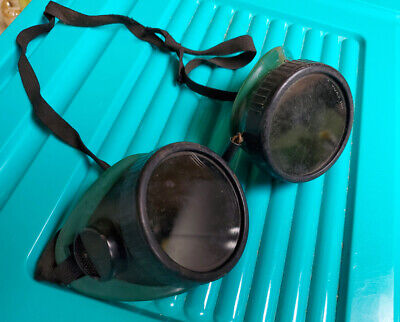 Vintage Round Retro Welding Safety Goggles Usa Made Green Black - Soxco