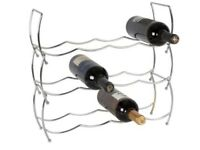 3 Tier Chrome plated metal stacking wine rack , holds up to 12 bottles. Brand new, unused.
