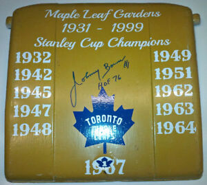 JOHNNY BOWER AUTO/SIGNED MAPLE LEAF GARDENS GOLD SEAT W/COA