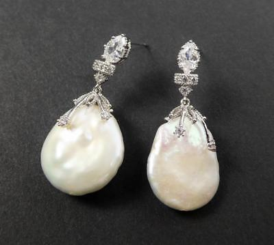 Shiny Silver Rhodium Plated CZ Large White Freshwater Coin Pearl Drop Earrings Freshwater Shiny Earrings