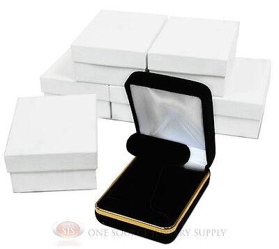 6 Piece T-shape Black Velvet Earring Jewelry Gift Boxes 2 14w X 3d X 1 14h