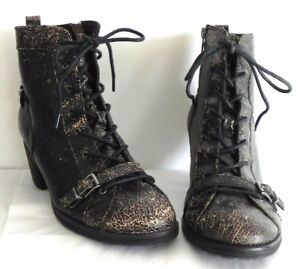 NEW OTBT Floyd Black Distressed Leather Lace Up Boots sz 9