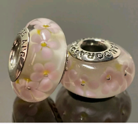 2 x pandora pink flower charms