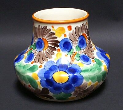 ANTIQUE HAND PAINTED ART POTTERY CZECH FLOWER VASE SIGNED CZECHOSLOVAKIA