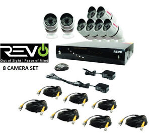NEW REVO 8-CHANNEL 1TB DVR SURVEILLANCE SYSTEM W/8 1080P BULLET