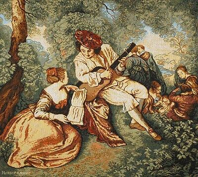 WALL JACQ. WOVEN TAPESTRY A Musician - Victorian Scene EUROPEAN PICNIC (Scene Wall Tapestry)