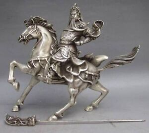 Chinese Collectable Tibet Silver Warrior God Guan Yu & Horse Statue7821
