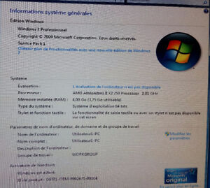 Ordinateur Dual core 3.01Ghz, 4Go,RAM, Windows 7