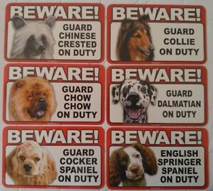 Beware of Dog Sign - Chinese Crested to English Springer Spaniel