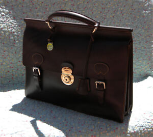 Dooney & Bourke Double Gusset Brown Leather Executive Briefcase