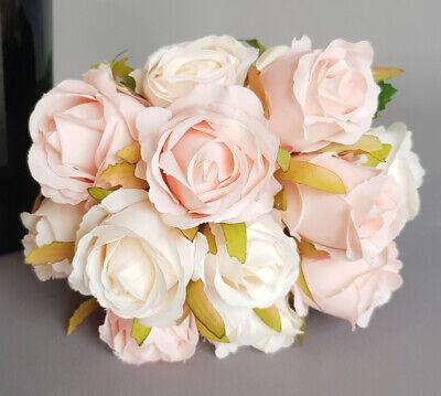 12 Strauß (12 Rosen als Strauß, Kunst-blumen Blumenstrauß für Hochzeit Dekoration Cream)