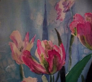 """Summer Flowers by M. Knox """"Pretty in Pink"""" Watercolor, 1970 Stratford Kitchener Area image 6"""