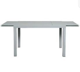 Brand new grey glass extendable dining table