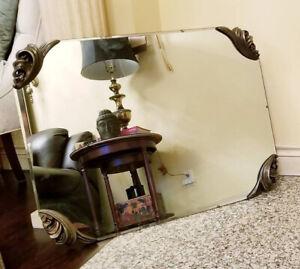 Vintage Antique Brass Corner Beveled Wall Vanity Mirror