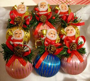 Ensemble de 6 boules de Noël soie et Père Noël # N465