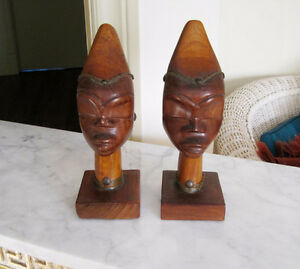 Wood Carved TRIBAL PEOPLE Bookends / Figures