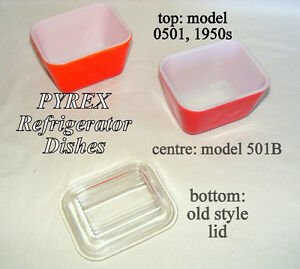 2 Vintage Pyrex colored refrigerator dishes #0501& 501B, old lid