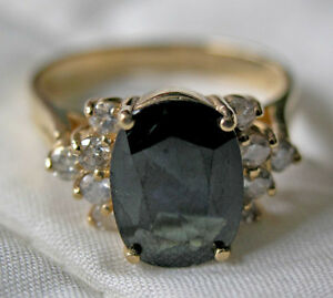 Ladies 14kt Gold & Natural Cut Sapphire Ring (Certificate)