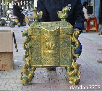 Chinese Exquisite Bronze Phoenix Incense Burner