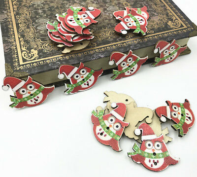 Christmas owl Buttons Wooden Sewing Kid/'s Handicrafts decoration 2 hole 33mm