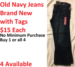 Old Navy Jeans -Brand New with Tags - Straight Cut -Size 38x30
