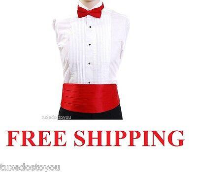 Christmas Red Cummerbund Bow Tie Satin Made in USA Adj. 26 - 50 waist FREE SHIP](Christmas Bow Tie)
