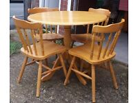 Round Beech Kitchen Dining Table With Four Chairs