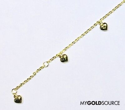 Fancy Puffed Heart - 14k Gold Fancy Puffed Hearts Yellow Gold Anklet Adjustable 9 or 10 Inches