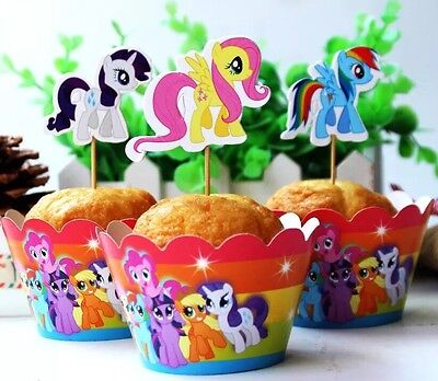 48 Pcs, 24 My Little Pony Cupcake Wrappers & 24 Toppers Kids B-day Party Supply (My Little Pony Cupcake Wrappers)