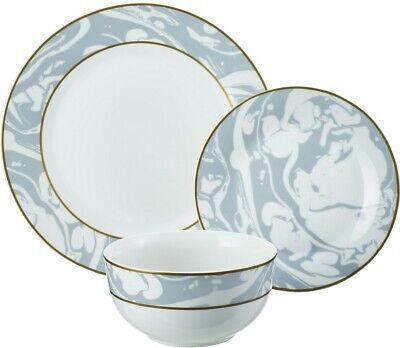 Marble Swirls 24-Piece Porcelain Gray Dinnerware Set Service for 8 NEW 2DAY (10 Strawberry Street 24 Piece Dinnerware Set)